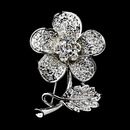 Elegance by Carbonneau Brooch-94-AS-Clear Antique Silver Clear Rhinestone Flower Brooch Pin 94
