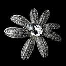 Elegance by Carbonneau Brooch-95-AS-Clear Antique Silver Clear Rhinestone Flower Brooch 95