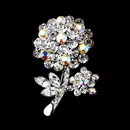 Elegance by Carbonneau Brooch-96-AS-AB Antique Silver Clear Aurora Borealis Rhinestone Flower Brooch Pin 96