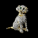 Elegance by Carbonneau Brooch-98-G-Clear Gold Trimmed Silver Clear Rhinestone Dog Pin w/ Green Rhinestone Eyes Brooch 98
