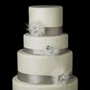 Elegance by Carbonneau Cake-Clip-460 Decorative Silver Clear Rhinestone, Swarovski Crystal & Feather Mesh Clip 460