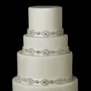 Elegance by Carbonneau Cake-HP-9854 Decorative Silver Clear Swirl Rhinestone Satin Ribbon HP 9854