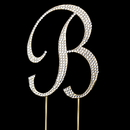 Elegance by Carbonneau Cake-Monogram-Completely-Covered-Letter-B-Gold Completely Covered ~ Swarovski Crystal Wedding Cake Topper ~ Letter B ~ Gold