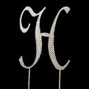 Elegance by Carbonneau Cake-Monogram-Completely-Covered-Letter-H-Gold Completely Covered ~ Swarovski Crystal Wedding Cake Topper ~ Letter H ~ Gold