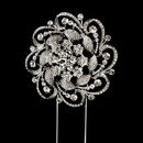 Elegance by Carbonneau CJ-1025 Whirling Rhinestone Covered Flower Cake Topper in Silver 1025
