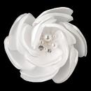 Elegance by Carbonneau Clip-105-M Satin & Organza Flower w/ Pearl & Rhinestone Center Hair Clip 105