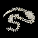 Elegance by Carbonneau Clip-1060-S-Ivory Silver Ivory Freshwater Pearl & Clear Rhinestone Bridal Headpiece Clip 1060