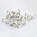 Elegance by Carbonneau Clip-108-S-Clear Silver Clear Small Floral Rhinestone Clip 108