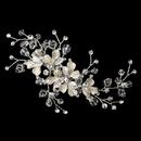 Elegance by Carbonneau Clip-1160-S-CL Silver Clear Swarovski Crystal Bead, Rondelle & Rhinestone Floral Ivory Vine Hair Clip