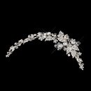 Elegance by Carbonneau Clip-1932-S-Clear Silver Clear Side Accented Crystal & Rhinestone Tiara Clip 1932