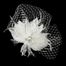 Elegance by Carbonneau Clip-2542 Rhinestone & Crystal Bead Feather Flower Fascinator Hair Clip with Russian Tulle 2542