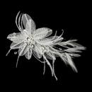 Elegance by Carbonneau Clip-2664 Silver Ivory Feather, Crystal & Rhinestone Flower Hair Clip 2664