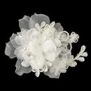 Elegance by Carbonneau Clip-3047-IV Ivory Organza Floral Lace Hair Flower Clip 3047 w/ Pearls, Rhinestones & Crystals