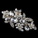 Elegance by Carbonneau Clip-3775-LG-FW Light Gold Freshwater Pearl & Rhinestone Leaf Hair Clip