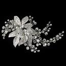 Elegance by Carbonneau Clip-378-S-CL Silver Clear Rhinestone Floral Vine Leaves Clip 378