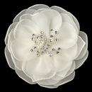 Elegance by Carbonneau Clip-4166-IV Ivory Pearl & Rhinestone Garden Flower Clip