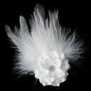 Elegance by Carbonneau Clip-420-White Petite Flower Feather Fascinator Bridal Wedding Day Hair Clip - Clip 420 White
