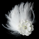 Elegance by Carbonneau Clip-421 Flower Feather Fascinator Bridal Hair Clip 421 with Brooch Pin