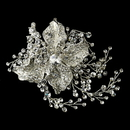 Elegance by Carbonneau Antique Silver Clear Rhinestone Flower Hair Clip 4402