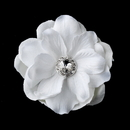 Elegance by Carbonneau Clip-443 Glamorous White Delphinium Flower Hair Clip w/ Silver Clear Jewel Center 443 with Brooch Pin