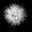 Elegance by Carbonneau Clip-460 Exquisite Silver Clear Rhinestone & Swarovski Crystal Bridal Hair Clip w/ White or Ivory Feathers 460