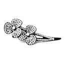 Elegance by Carbonneau Clip-464-Clear-AB Clear AB Crystals & Clear Rhinestones on Black Claw Clip 464