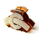 Elegance by Carbonneau Clip-468-Amber Exquisite Amber Hair Clip w/ Clear Rhinestones 468