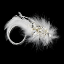 Elegance by Carbonneau clip-5282 Extraordinary White or Ivory Feather & Clear Rhinestone Bridal Hair Clip 5282