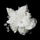 Elegance by Carbonneau Clip-5285 * Pearl & Crystal Rhinestone Bridal Flower Hair Clip 5285