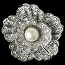 Elegance by Carbonneau Clip-7131-RD-IV Rhodium Ivory Pearl & Rhinestone Flower Clip