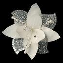 Elegance by Carbonneau Clip-779-Ivory Flower Fascinator with Pearl & Swarovski Crystal Bead Hair Clip 779