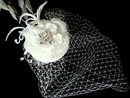 Elegance by Carbonneau Clip-8127 Exquisite Bridal Hat and Birdcage Veil on Clip in White or Ivory 8127