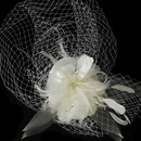 Elegance by Carbonneau Clip-8366 Russian Bridal Bird Cage Veiling Bridal Hat with Swarovski Crystal & Feather Accents - Clip 8366 with Brooch Pin