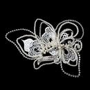 Elegance by Carbonneau Clip-9631-S-DW Silver Diamond White Pearl, Rhinestone & Lace Hair Clip 9631