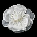 Elegance by Carbonneau Clip-9644 * Rhinestone, Pearl & Sequence Accent Flower Hair Clip 9644