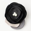Elegance by Carbonneau Clip-9940-Black Black Flower Sophistication Hair Clip with Faux Pearl Accents 9940 with Additional Brooch Pin