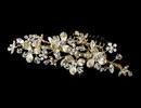 Elegance by Carbonneau Comb-058-G Gold Floral Accented Crystal Versatile Comb-058