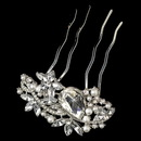 Elegance by Carbonneau Comb-1186-RD-WH Rhodium Clear Marquise Rhinestone & White Pearl Vintage Hair Comb 1186