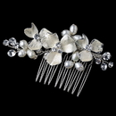 Elegance by Carbonneau Comb-120-S-FW Freshwater Pearl & Rhinestone Floral Hair Comb 120 (Silver or Gold Accent)