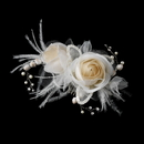 Elegance by Carbonneau clip-1665-ivory-rum Ivory & Rum Pink Rose & Feather Bridal Clip 1665