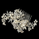 Elegance by Carbonneau Comb-20-S-FW Silver Clear Rhinestone & Freshwater Pearl Bow Hair Comb 20