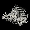 Elegance by Carbonneau Comb-23-S-CL Silver Clear Rhinestone & Swarovski Crystal Flower Hair Comb 23