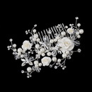 Elegance by Carbonneau Comb-2882-S-Ivory Silver Ivory Pearl, Austrian Crystal Bead and Rhinestone Rose Hair Comb 2882