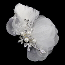 Elegance by Carbonneau Comb-3200-S-IV Rhinestone & Pearl Ivory Sheer Organza Feather Hair Comb 3200