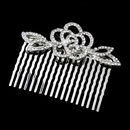 Elegance by Carbonneau Comb-4010-AS-Clear Antique Silver Clear Rhinestone Flower Comb 4010