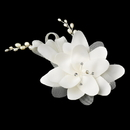 Elegance by Carbonneau Silver Ivory Matt Satin Rhinestone & Freshwater Pearl Flower Hair Comb 41