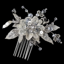 Elegance by Carbonneau Comb-4121-RD-IV Rhodium Ivory Lace & Crystal Flower Comb 4121