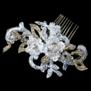 Elegance by Carbonneau Comb-4182-G-IV Gold Ivory Lace, Rhinestone, Bead & Swarovski Crystal Floral Comb
