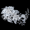 Elegance by Carbonneau Comb-4204-S-IV Silver Ivory Lace, Rhinestone, Bead & Swarovski Crystal Floral Comb