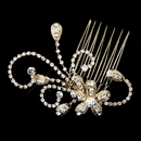 Elegance by Carbonneau Comb-4285-G-Clear Gold Clear Floral Rhinestone Side Comb 4285